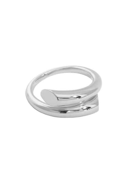 platinum [14 Adjustable] 925 Sterling Silver Irregular Minimalist Stackable Ring